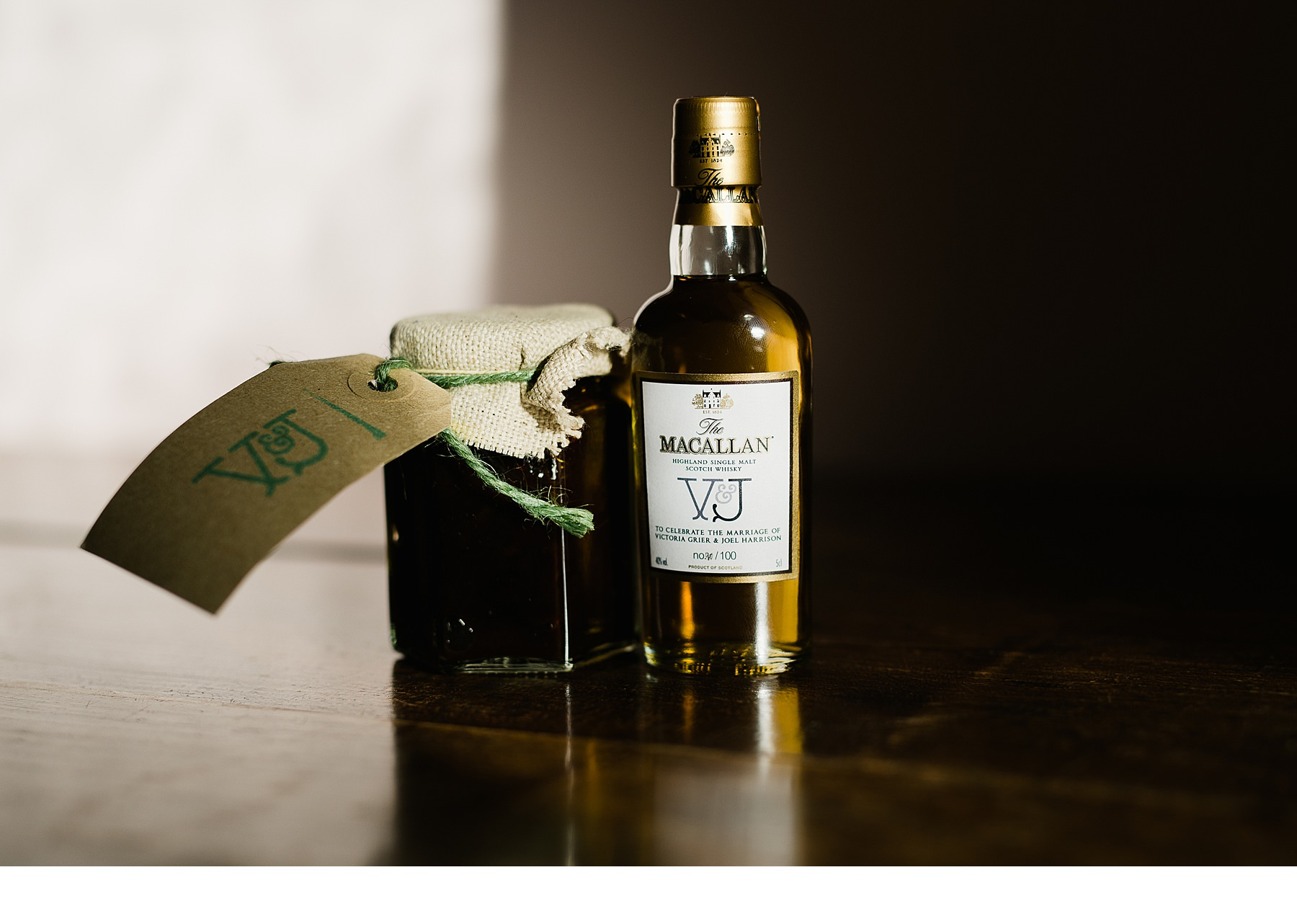 Customised whisky bottle for the bride and groom with their initials and some homemade chutney favours