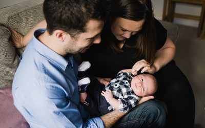 Relaxed, newborn, family photography in Costorphine, Edinburgh