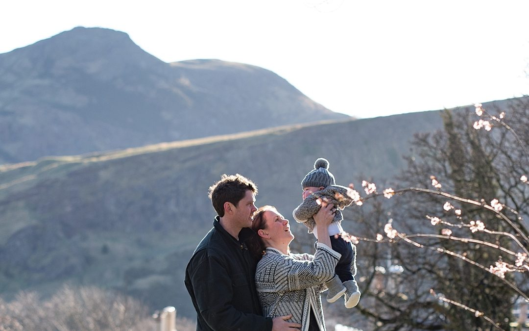 Winter baby photoshoot on Calton Hill and at home